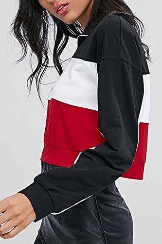 Primavera Primavera Large Crop Donne Donne Donne Casual Colore Felpe Dimensione Nero Cotton Tops Autunno Colorblock Nero S4UPwxqUE