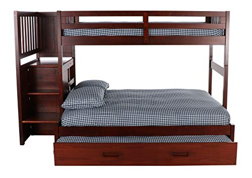 Mission Twin Over Full Staircase Bunk Bed with Trundle, Desk, Hutch and Chair in Merlot Finish