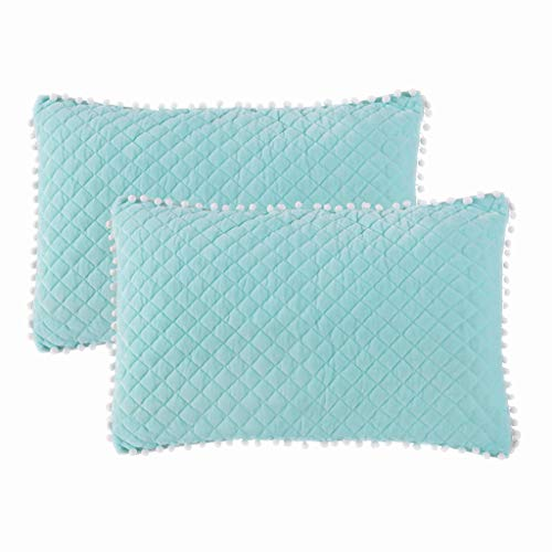 LIFEREVO 2 Pack Diamond Quilted Crystal Velvet Mink Pillowcases Pompoms Fringe Zipper Closure (Pillowcases Aqua, -