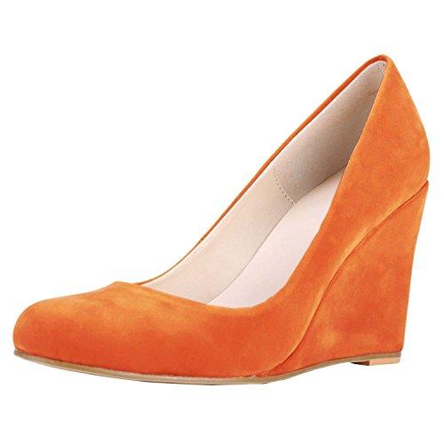 HooH Women's Flannel Candy Color Wedge Pumps Orange v06APThI