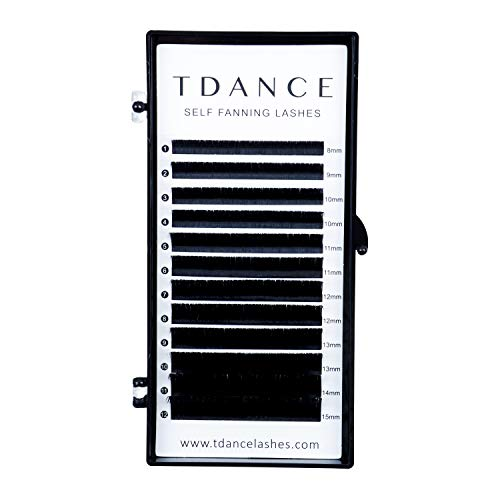 TDANCE Eyelash Extension Supplies Rapid Blooming Volume Eyelash Extensions Thickness 0.07 D Curl Mix 8-15mm Easy Fan Volume Lashes Self Fanning Individual Eyelashes Extension (D-0.07,8-15mm)