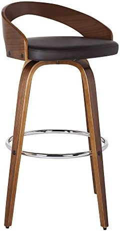 Armen Living Sonia Multi Color Options Faux Leather Swivel Kitchen Barstool With Walnut Wood Finish and Chrome Footrest, 26 Counter Height, Brown