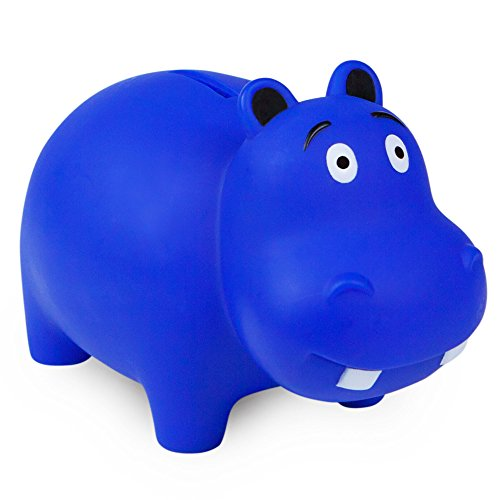 WADDLE Cute Hippo Popular Animal Piggy Bank for Boys Durable Drop Resistant Money Coin Holder for Kids, Babies, Infants, and Toddlers Cobalt Blue | Favorite Unique Gift Idea ()