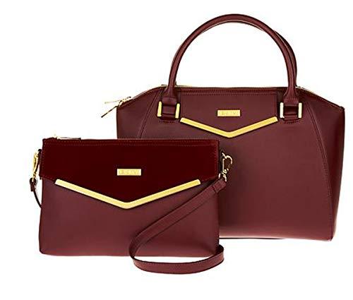 - JOY & IMAN Couture Leather Satchel & Clutch with Velvet Detail ~ Cabernet