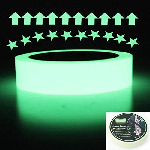 EONBON Luminous Glow Tape Sticker,30 feet Length x 1 Inch, Photoluminescent Glow in The Dark Safety Tape, Egress Markers Stairs, Walls, Steps, exit Sign, Glowing pro Theatre Stage Floor