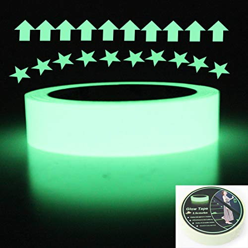 Luminous Glow Tape Sticker,30 feet Length x 1 Inch, Removable Waterproof Photoluminescent Glow in The Dark Safety Tape, Egress Markers Stairs, Walls, Steps, exit Sign, Glowing pro Theatre Stage Floor -