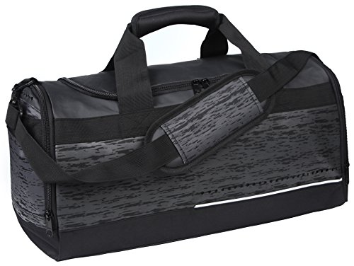 MIER Mens Holdall Gym Bag Sports Duffel Bag with Shoes Compartment for Weekender, Overnight, Carry on, 40L, Black