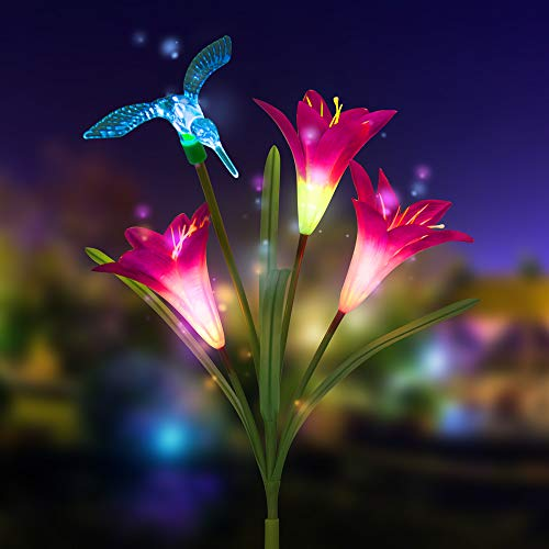 Solar Lights Outdoor, New Version Solar Garden Lights with 3 Lily Flower, Butterfly & Hummingbird Decorative Lights, Waterproof Multi-Color Changing LED Garden Lights for Yard, Patio(1 Pack, Purple) - Hummingbird Stake Light
