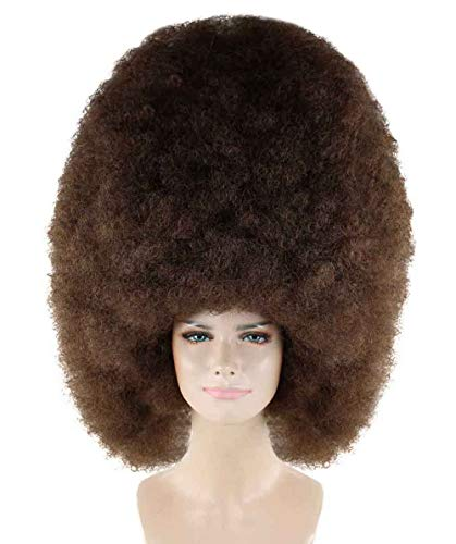 Halloween Party Online Super Size Jumbo Afro Wig Collection, Adult & Kids (Adult, Dark Brown)