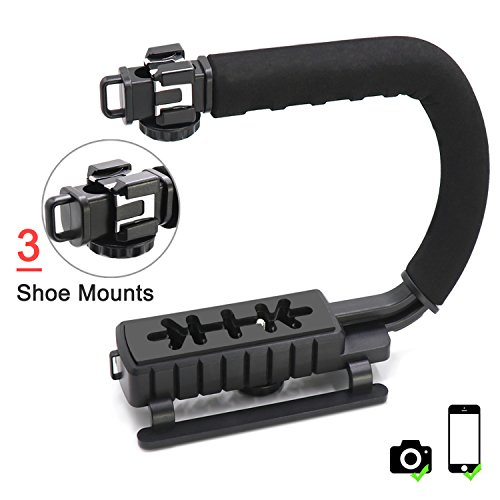 Professional Handheld U/C-Shaped Grip - TWZ Smartphone Video Enhancement Kit with 3 Integrated Accessory Hot-Shoe Mount for Microphone or LED Video Light