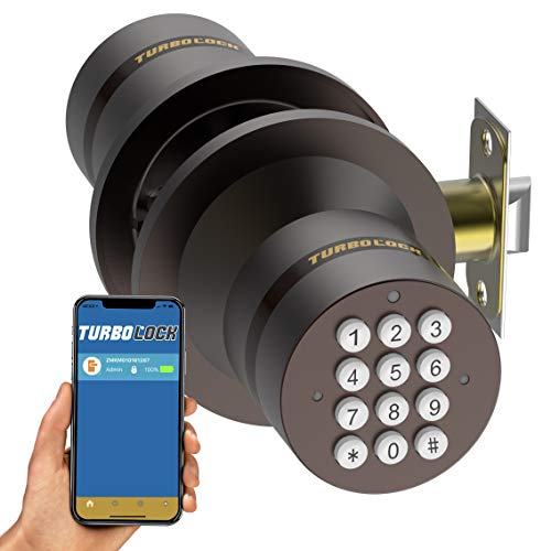 TurboLock TL-99 Bluetooth Smart Lock for Keyless Entry & Live Monitoring - Send & Delete eKeys w/App on Demand (Bronze)