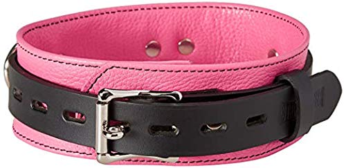 Strict Leather Deluxe Locking Collar, Pink and Black by Strict Leather