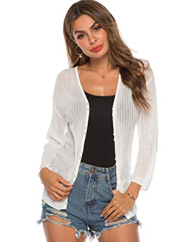 LYHNMW Womens Tie Front Lightweight Knit Cropped Cardigan Button Down Long Sleeve Sheer Shrug White