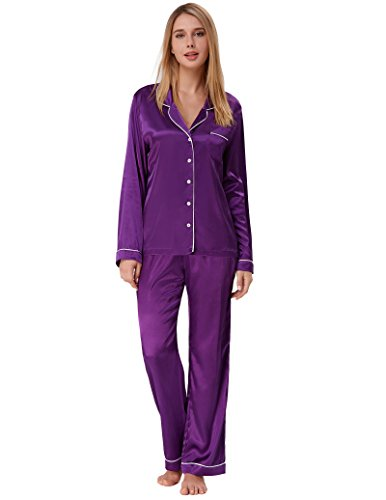 Women Pajama Long Sleeve Satin Button Top with Pants Purple Size S ()