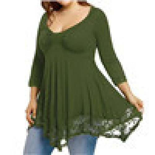 BYSTE Donna Camicia Blusa Maglia V-Collo Cuciture in Pizzo Manica Lunga Casual Orlo Irregolare Maglietta T-Shirt Camicetta Tops -Taglia Larga Verde
