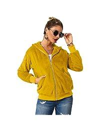 EISHOW Womens Zip Up Hoodie Faux Fur Jacket Fuzzy Fleece Teddy Hooded Shearling Coat Warm Winter Outwear Pockets