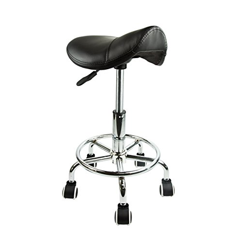 Apontus pu leather saddle salon stool black for 360 the colour bar salon