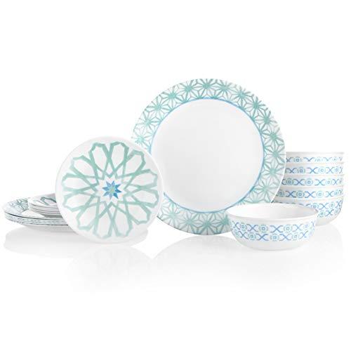 Corelle 18-Piece Service for 6, Chip Resistant Dinnerware Set, Amalfi Verde best to buy