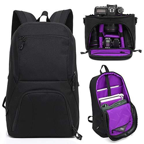 Diffomatealliance Bag,case&Straps GuoBomate勝利バッグ、ケース、ストラップHUWANG 2 in 1防水盗難防止屋外デュアルショルダーバックパッケージ+耐衝撃カメラケースバッグ(グリーン) (Color : 紫の) B07QYHJ7YQ