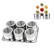 6 Spice Jars Magnetic Rack With Stainless Trestle Rack Condiment Storage Jar Tray Set - Stainless Steel Spice Jars Multipurpose Spice Tin