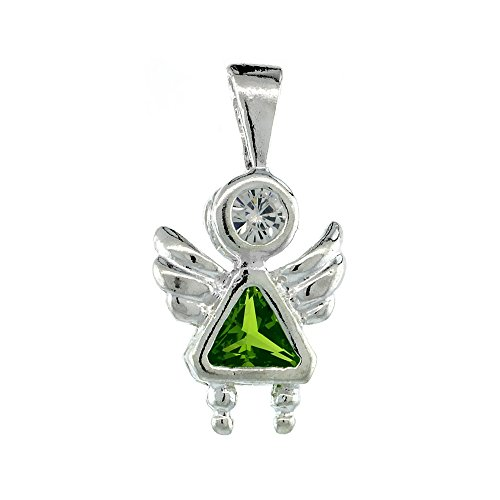 Sterling Silver Cherub (Sterling Silver Birthstone Angel Brat Charm August Peridot Color Cubic)