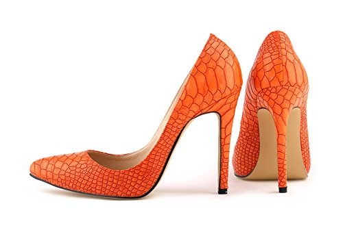 HooH Damen High Heel Spitze Zehe Stiletto Hochzeit Pumps Slip On Orange ...
