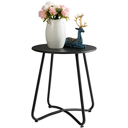 HollyHOME Small Round Patio Metal Side Snack Table, Accent Anti-Rust Steel Coffee Table for Garden, Modern Weatherproof Outdoor End Table, H 17.55 x D 15.60 , Black