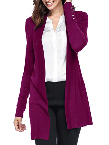 Spicy Sandia Open Front Knit Cardigans for Women Lightweight Cover-up Long Sleeve Cardigan Sweaters, Fuchsia, Medium