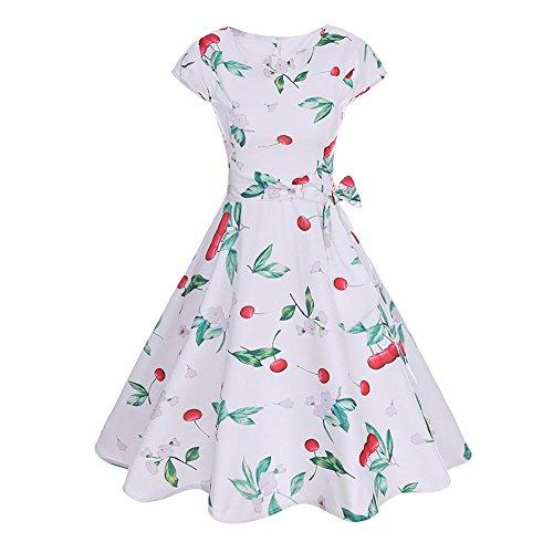Alimao 2019 Dress Women Sleeveless Ladies Beach Dress Fashion PrintedTunic Tank Dress (Large, White-3)