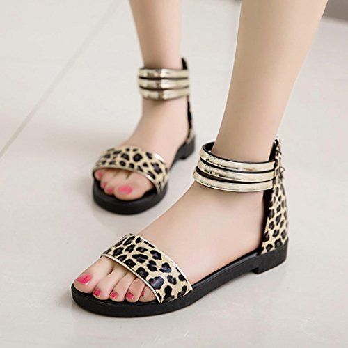 LHWY Sandalen Damen Frauen Sommer Sandalen Flache Schuhe Peep-Toe Low Schuhe Römische Sandalen Damen Flip-Flops Leopard Schwarz