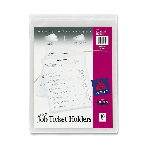Avery Job Ticket Holders, Heavy Gauge Vinyl, 9 x 12 Inches, 10 per Pack (75009)