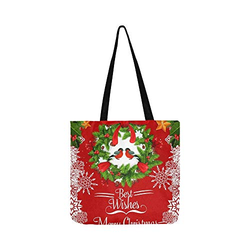 Merry Christmas Greeting Card Holly Wreath Canvas Tote Handbag Shoulder Bag Crossbody Bags Purses For Men And Women Shopping Tote