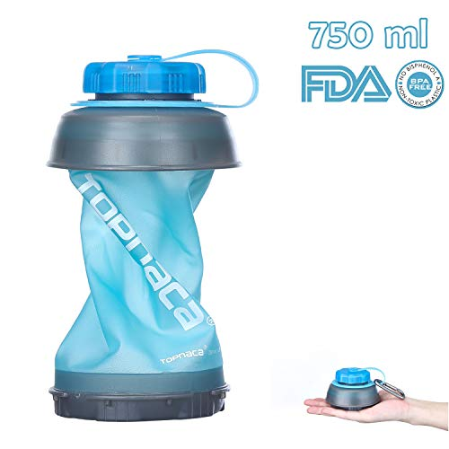 Topnaca Collapsible Water Bottle, 750ml 25oz BPA Free Foldable Reusable Lightweight Compact Portable for Camping Backpacking Hiking Climbing Travel Outdoor Activities (Blue/Grey)