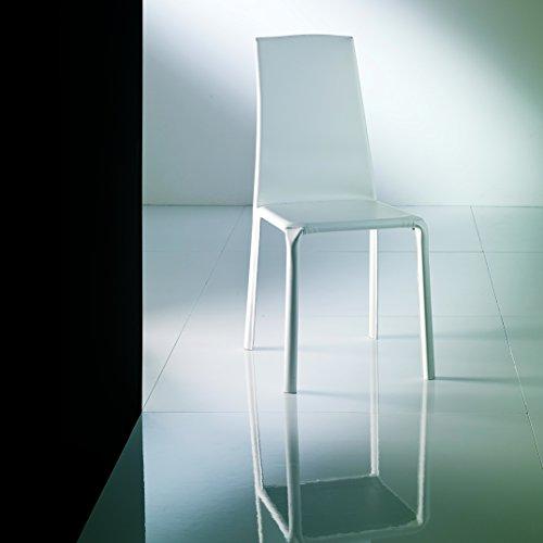Bontempi Casa Alice White High Back Chair in Padded Hide Lea