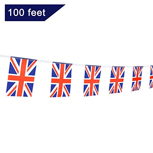TSMD 100 Feet United Kingdom UK Flag 76Pcs Indoor/Outdoor British Union Jack National Country Flags,Party Decorations Supplies For Grand Opening,Sports Clubs,International Festival,(8.2