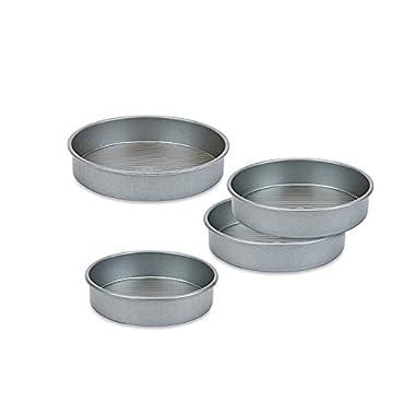 USA PAN Round Cake Pan Set of 4 (1 8  Round Cake Pan, 2 9  Round Cake Pans, 1 10  Round Cake Pan)