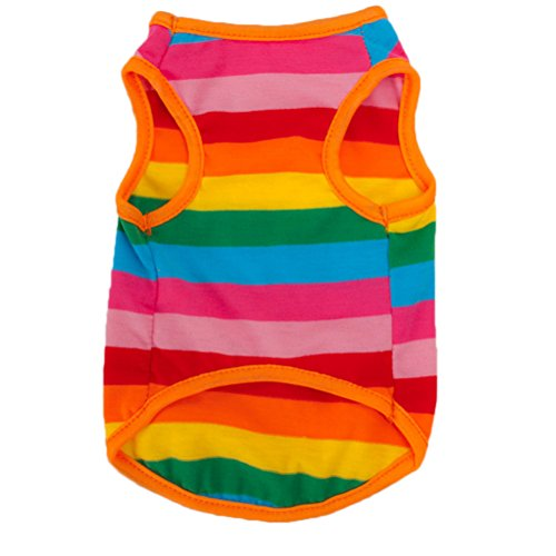 UEETEK Rainbow Stripes Pet Summer Shirt Clothes, Fashion Puppy Kitten Vest, Breathable Cotton Sleeveless T-Shirt Waistcoat for Small Dogs Cats Wear, Size M