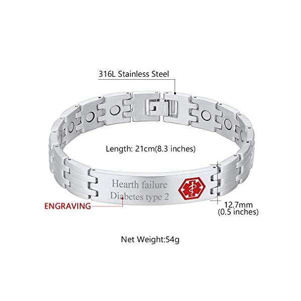 Custom4U Braccialetto di allerta medica, braccialetti Sos per uomo donna, braccialetti personalizzati per donna uomo… 5