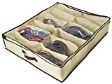 how to store shoes Ziz Home Under Bed Shoe Organizer for Kids and Adults (12 Pairs) - Underbed Shoes Closet Storage Solution - Made of Breathable Materials with Front Zippered Closure - Easy to Assemble