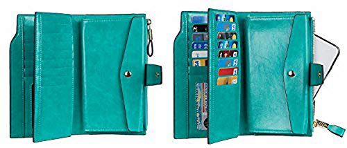 Large Wax Wallet Leather Card Multi Womens Waxed Clutch Green Blocking Organizer Rfid Capacity Genuine Luxury Travelambo HaW8tv6v