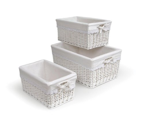 - Three Nesting Wicker Nursery Baskets with Fabric Liners