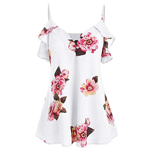 〓COOlCCI〓Women Floral Printing Cold Shoulder Shirt Sleeveless Vest Tank Tops Blouse Casual Ruffle Sleeve Blouse White
