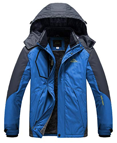 Heihuohua Men's Mountain Waterproof Ski Snowboard Jacket Windproof Fleece Lined Outdoor Hiking Coat,Blue,3XL(US L)