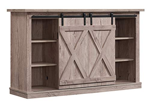 Storage Set Media Modern - Pamari TC54-6127-PD25 Wrangler Sliding Barn Door TV Stand, Ashland Pine