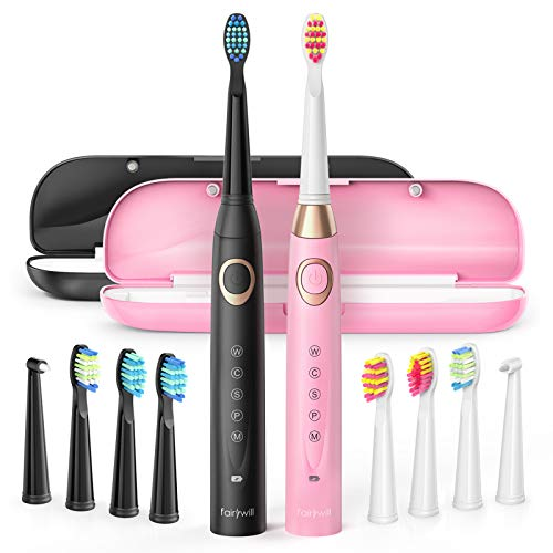 2 Electric Toothbrush, Sonic Power Whitening 40,000 VPM Rechargeable Duo Elec Toothbrushes for Adults&Kids, 5 Modes…