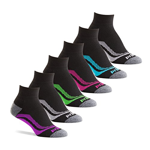 Athletic Quarter Sock (Prince Women's Short Quarter Performance Athletic Socks for Running, Tennis, and Casual Use (6 Pair Pack) - Black, Women's Shoe Size 6-10)