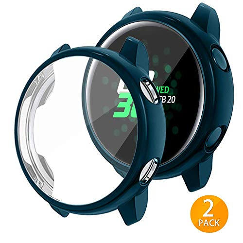 Tensea Compatible with Galaxy Watch Active Case, Soft TPU Bumper Full Around Screen Protector Cover for Samsung Galaxy Watch Active 40mm, 2 Packs (Green)