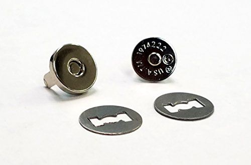 (Silver Magnetic Snap Button Clasp Closures for Purses and Handbags - Clothes and Sewing Crafts - No Tools Required - 10mm (3/8