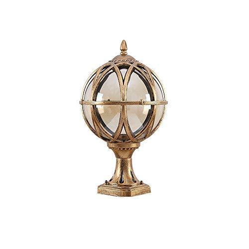 IBalody Traditional Globe Glass Ball E27 Garden Column Lamp European Antique Retro Outdoor IP54 Waterproof Die-cast Aluminum Post Light Courtyard Path Door Landscape Decorative Pillar Light