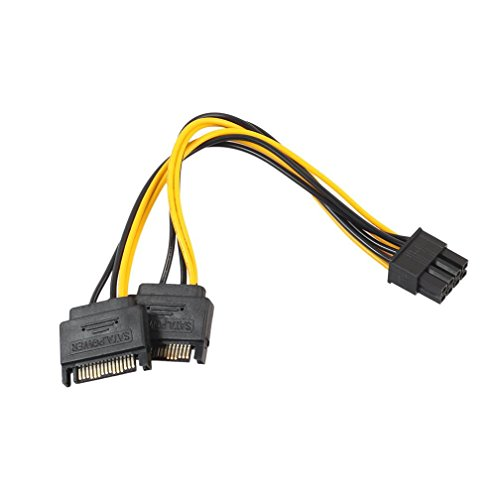 Mchoice 15Pin SATA Male To 8pin PCI-E Male Video Card Power